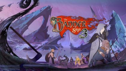 Banner Saga Logo with multiple characters